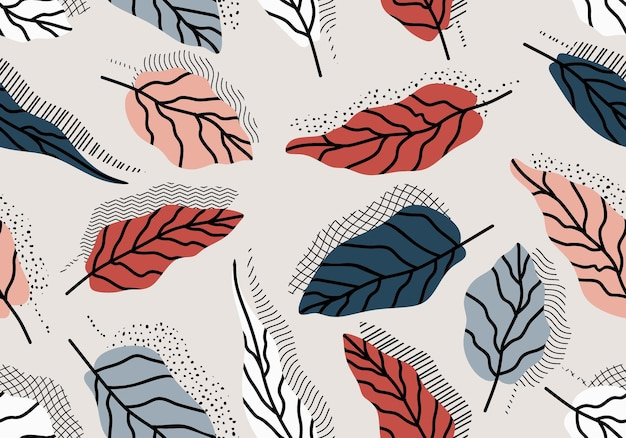 Seamless pattern with abstract leave.
