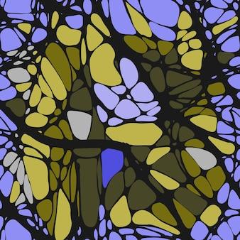 抽象的なパターン、線とのシームレスなパターン。ニューログラフィックス。抽象的な色とりどりの背景に黒い線。ベクトルイラスト