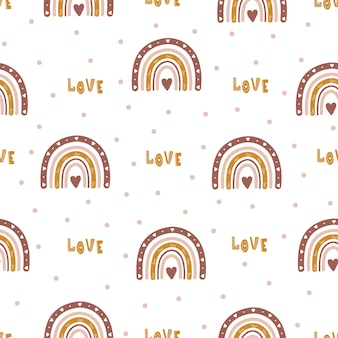 Seamless pattern with abstract rainbow and hearts.