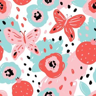 추상적인 모양, 석류, 나비와 함께 완벽 한 패턴입니다. 현대적인 평면 스타일, 멤피스 디자인. 손으로 그린 벡터 일러스트 레이 션. 인쇄, 직물, 섬유, 벽지 질감.