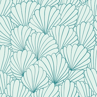 Seamless pattern with abstract shell ornaments. hand drawn illustration