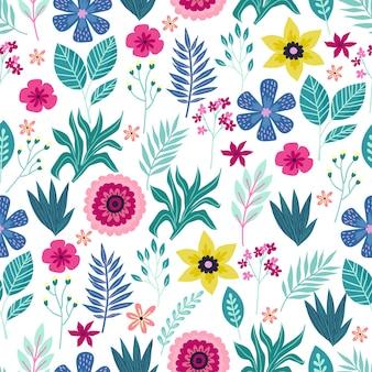 Бесшовный фон с абстрактными тропическими пальмовыми листьями и цветами. векторная иллюстрация.