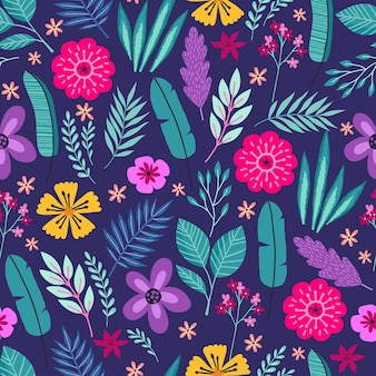 Seamless pattern with abstract tropical palm leaves and flowers. vector illustration.