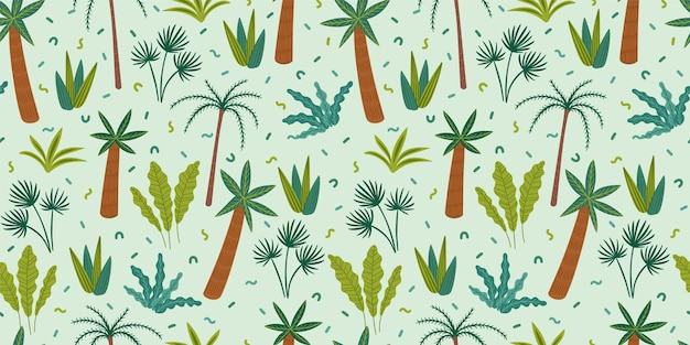 Seamless pattern with abstract tropical plants.