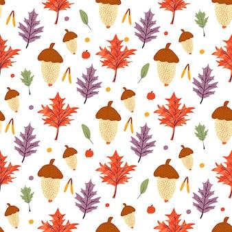 Бесшовный фон с желудь и листьями клена, дуба, ясеня. осенний фон шаблон украшен модными элементами. плоские естественные векторные иллюстрации для рекламы, продвижения
