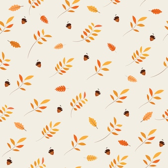 Seamless pattern with acorns and autumn leaves.