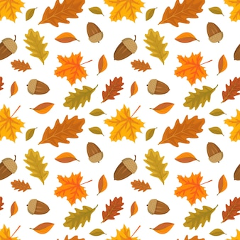 Seamless pattern with acorns and orange maple and oak leaves bright autumn print with nature and for...