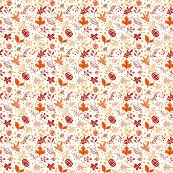 Бесшовный фон с желудями, тыквой и осенними дубовыми листьями