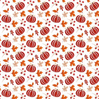 Seamless pattern with acorns, pumpkin and autumn oak leaves in orange and brown