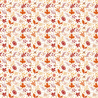 Seamless pattern with acorns, pumpkin and autumn oak leaves