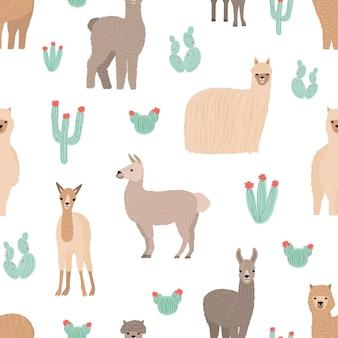 白い背景に手描きの愛らしいラマとのシームレスなパターン。面白い野生のアンデスの動物とサボテンの背景。