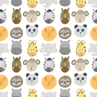 Seamless pattern with african and american animal faces (lion, zebra, sloth, giraffe etc)