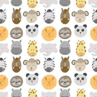 アフリカとアメリカの動物の顔(ライオン、シマウマ、ナマケモノ、キリンなど)とのシームレスなパターン