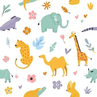 アフリカの動物と花柄のシームレスなパターン。キリン、ラクダ、ヒョウ、フェネック、鱗甲目、象、サイ