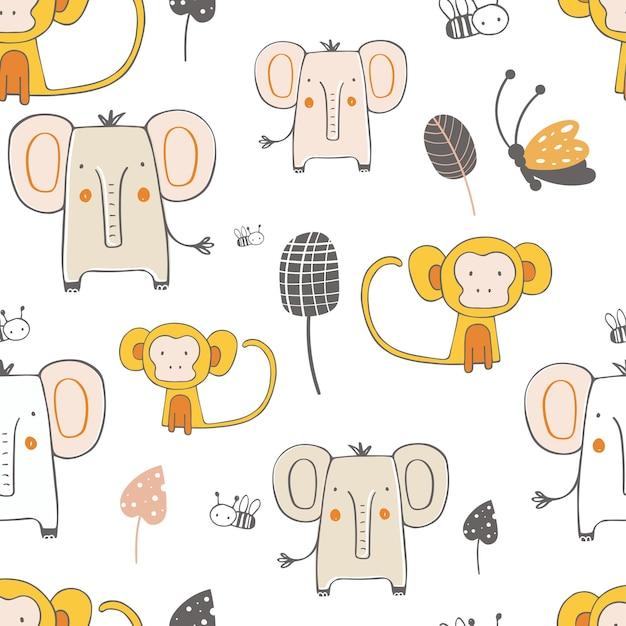 아프리카 동물 코끼리와 원숭이와 원활한 패턴 스칸디나비아 스타일 손으로 그린 벡터
