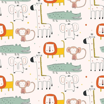 Seamless pattern with african animals in scandinavian style hand drawn vector illustration giraffe