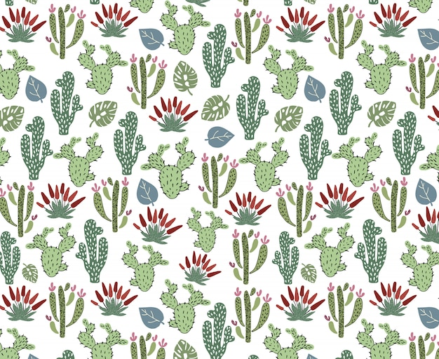 Seamless pattern with african cactus