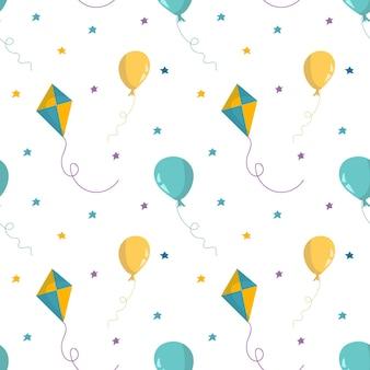 공기 풍선, 별, 연과 함께 완벽 한 패턴입니다. 손으로 그린 벡터 일러스트 레이 션. 월페이퍼, 어린이 섬유, 카드, 편지지, 포장에 대한 원활한 패턴입니다.