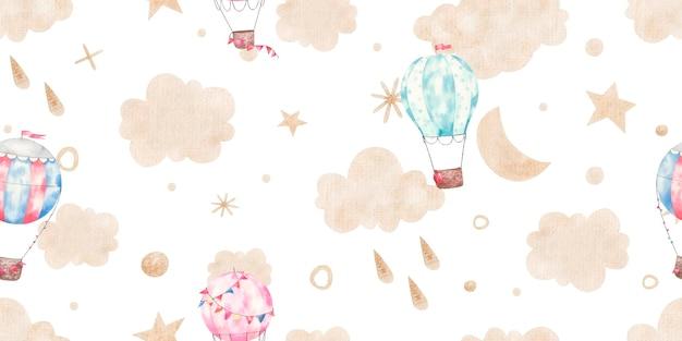 Бесшовный фон с воздушными шарами, облаками, золотыми звездами, милой детской иллюстрацией