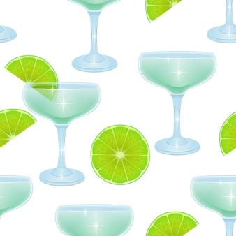 알콜 칵테일 및 레몬 조각으로 완벽 한 패턴