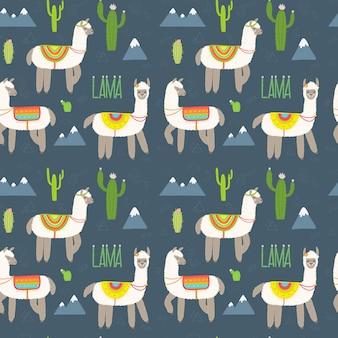 Seamless pattern with alpaca