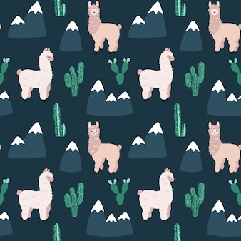 Seamless pattern with alpacas, cactus and mountains.