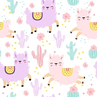 Seamless pattern with alpacas in pastel colors. cute llamas