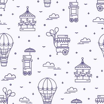白い背景の輪郭線で描かれた遊園地のアトラクションとのシームレスなパターン。カルーセル、フードカート、気球の背景。ラインアートスタイルの白黒イラスト