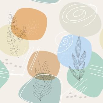 シンプルな形や線、植物の要素の抽象的な構成を持つシームレスなパターン