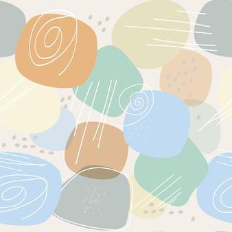 シンプルな形と線の抽象的な構成を持つシームレスなパターン