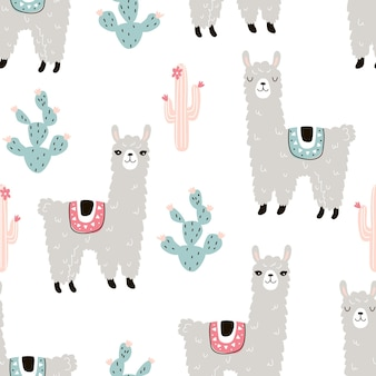 白い背景の上の動物のラマとサボテンとのシームレスなパターンベクトル図