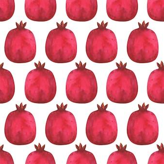Безшовная картина с иллюстрацией сочных, красных плодоовощей гранатового дерева.