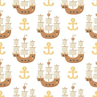 앵커와 범선으로 완벽 한 패턴