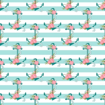 Seamless pattern with anchors and flowers.