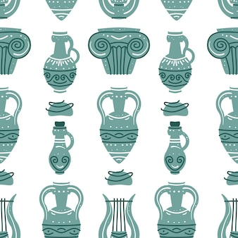 Seamless pattern with ancient greek vases amphoras and ancient column