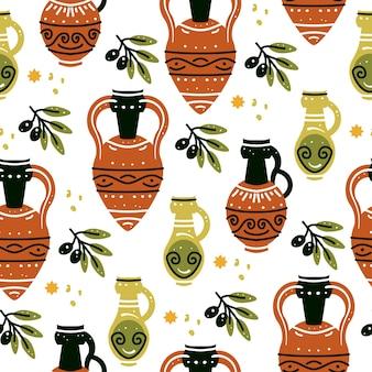 Бесшовный фон с древнегреческими вазами, амфорами и оливковой ветвью