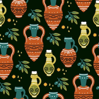 Seamless pattern with ancient greek vases amphoras and olive branch