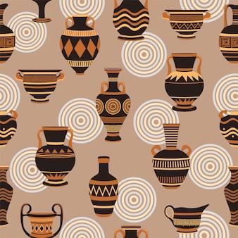 Бесшовный фон с древнегреческими вазами