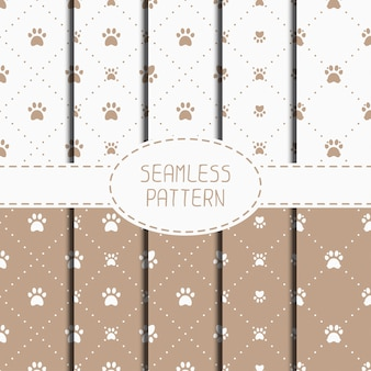 Seamless pattern with animal footprints, cat, dog.