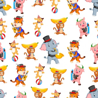 Seamless pattern with animal playing instrument music