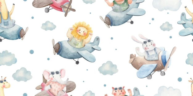 Seamless pattern with animals in airplanes among the clouds