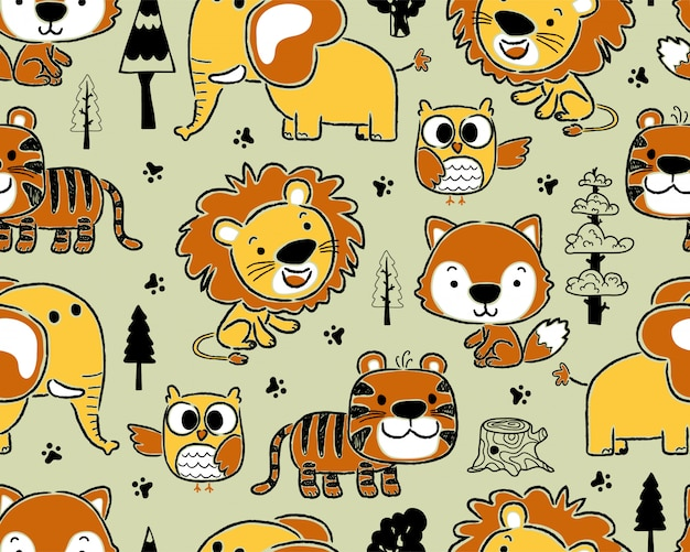 Seamless pattern with animals cartoon