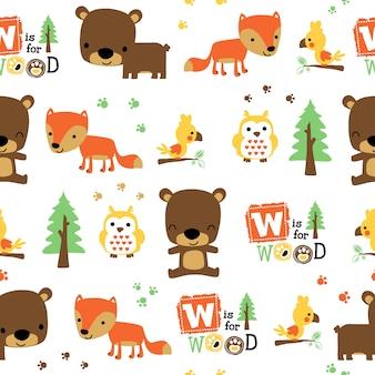 Seamless pattern with animals cartoon