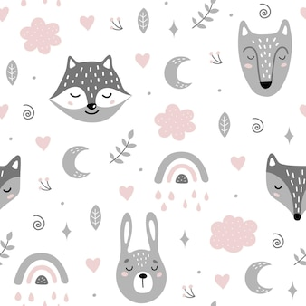 Seamless pattern with animals, cloud and rainbow in the sky.