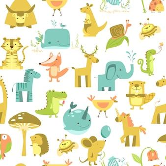 동물과 원활한 패턴 귀여운 동물 벡터입니다. 동물원 일러스트 세트