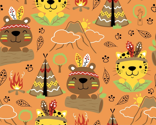 Seamless pattern with animals indian tribes