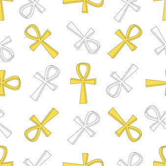 Seamless pattern with ankh, egyptian ancient concept. background, wrapping paper