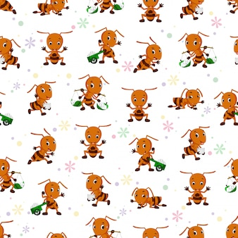Seamless pattern with ant cartoon