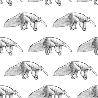 Seamless pattern with anteater.