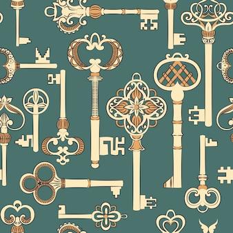 アンティークキーとのシームレスなパターン